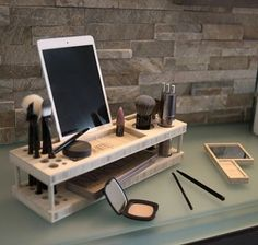 Beauty Station Line by iSkelter. A complete makeup organizer, display center, and universal docking station for your iPhone, iPad, and most phones and tablets. Each Beauty Station is chiseled and hand