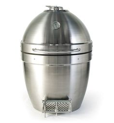 """The Pro Joe looks like a big silver bullet. """"the first in the new Revolution Series of ceramic grills by Kamado Joe."""""""