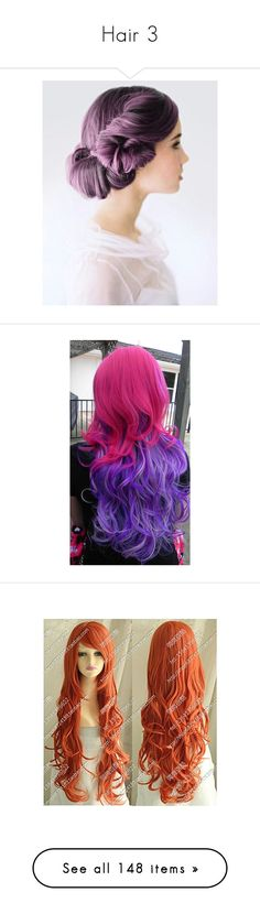 """""""Hair 3"""" by fandomy-randomy ❤ liked on Polyvore featuring beauty products, haircare, hair, cosplay, wigs, colored hair, hair styling tools, wig, costume and harley quinn"""