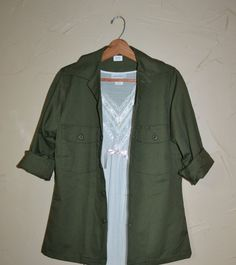 Vintage Green Military Shirt OG 507 Utility by founditinatlanta