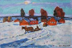 "Winter Evening Nikolai Mokrov 13 1/2"" x 19 1/2"" 1990"