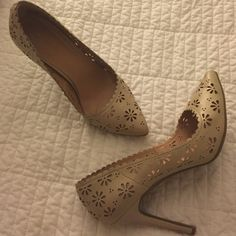 Lauren Conrad heels Lightly worn Lauren Conrad Lacey heel. Material is very soft and comfortable, but make them fit like an 8 Lauren Conrad Shoes Heels