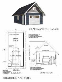 Craftsman Style 1 Car Garage Plan 544-6 by Behm Design