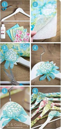(DIY Decoupage Clothes Hangers. THESE would be SO cool for a 4H craft or just to do them because it'd be so cool. <3
