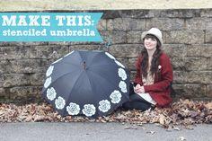 DIY stenciled umbrella