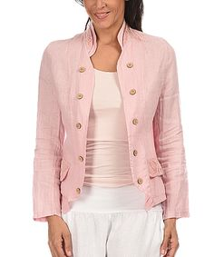 Couleur Lin Pink Button-Embellished Linen Open Jacket by Couleur Lin #zulily #zulilyfinds