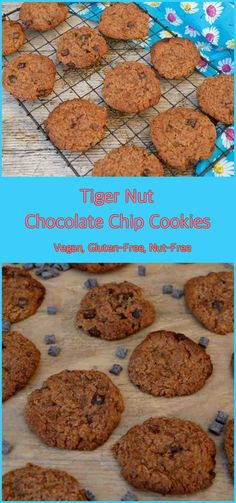 Tiger Nut Chocolate Chip Cookies. Sweet & chewy with a nutty flavour. Vegan, gluten-free, nut free. #cookies #vegan #tigernutflour #nutfree #glutenfree #dairyfree
