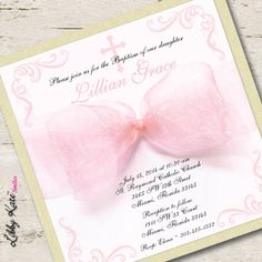 Baptism Invitation Girl Christening Invitation Pink and Gold by LibbyKateSmiles on Etsy https://www.etsy.com/listing/190824704/baptism-invitation-girl-christening