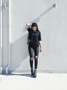 Slit Knee Slim Pants (available at Outfit Made) OM Mesh Tee Dress (available at Outfit Made)