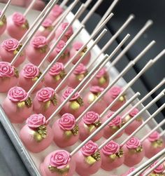 Pink Rose Cake Pops with gold accents. Call or email to order your celebration cake pops today. Cake Pops Roses, Pink Cake Pops, Fondant Cupcakes, Wedding Cake Designs, Wedding Cake Toppers, Cake Wedding, Gold Wedding, Pretty In Pink, Pink Rose Cake