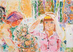 Rafael Wardi (Finnish, b.1928), TOGETHER. Oil on canvas 65 x 92 cm