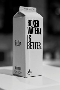 """I don't know if """"Boxed Water Is Better"""" - but the packaging people are brilliant for making bottled water look lame and this packaging chic. Cool Packaging, Brand Packaging, Packaging Design, Product Packaging, Boxed Water Is Better, Coca Cola, Box Water, Another Love, Bottle Design"""