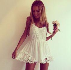 dress jumpsuit playsuit romper white crochet