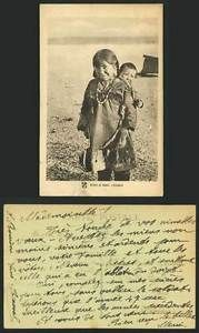 Eskimo Alaska Old Postcard Girl Carry Baby, Frere Soeur  | eBay