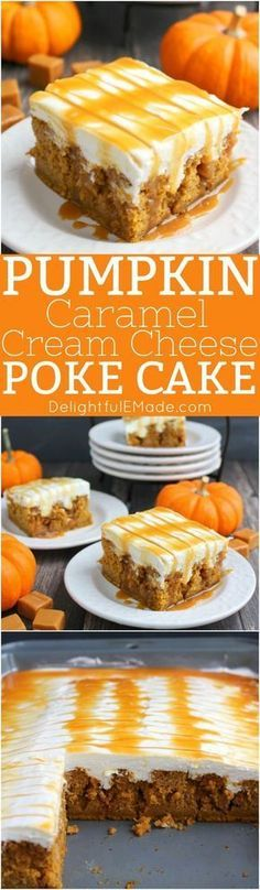 The ultimate fall dessert! This pumpkin poke cake is drizzled with caramel sauce, frosted with a fluffy cream cheese frosting and topped with even more caramel sauce! You'll love every single morsel of this uber moist, delicious pumpkin cake!