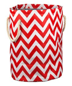sewing inspiration-Red & White Chevron Barrel Hamper