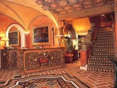 An over-the-top hotel lobby in Mexico with so many decorative embellishments. Not for everyone.