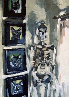 Original oil painting of Mr. Boney the skeleton hanging next to cat paintings on the wall.  5 x 7 inches by Diane Irvine Armitage.