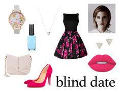 """Dress to Impress: Blind Date"" by eduarda-farias on Polyvore featuring moda, Adina Reyter, Links of London, Olivia Burton, Azature, Christian Louboutin, Lime Crime, Emma Watson, Ted Baker e cute"