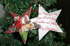 crafts using old christmas cards | Heres the Santa card as an Easy Christmas Crafts Five Point Star ...