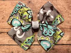 Gray and Green Floral Bow