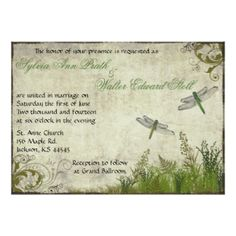 "Dragonfly Garden Vintage Wedding Invitation 5"" X 7"" Invitation Card"