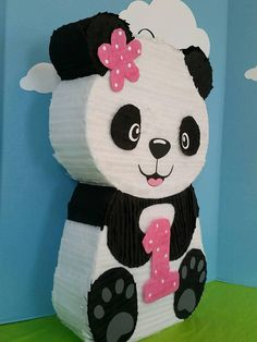 PANDA PINATA. Measures 24 inches tall, 18 inches wide, 4 inches deep. If you cant find a character or design that matches your party, feel free to contact me, I will be happy to create a custom order just for you