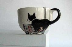 Cute design.  (white mug+enamel paint = 350 degrees for 30 mins. )