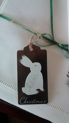 Christmas bunny gift tag. Made by a local artist for use on presents, place settings, candle embellishments, or whatever your heart desires.