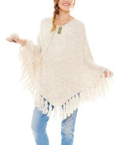 Another great find on #zulily! Cream Fringe-Trim Maternity Jo Poncho #zulilyfinds