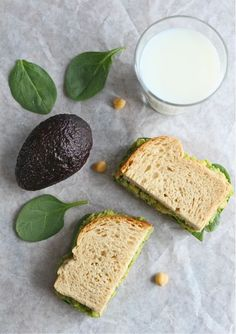 Smashed Chickpea & Avocado Sandwich  1 (15 ounce) can chickpeas or garbanzo beans (I use Bush's Garbanzo Beans)  1 large ripe avocado  1/4 cup fresh cilantro, chopped  2 tablespoons chopped green onion  Juice from 1 lime  Salt and pepper, to taste  Bread of your choice (I use whole wheat bread)  Fresh spinach leaves or other sandwich toppings: lettuce, tomato slices, sprouts, etc.