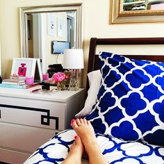 Apartment Therapy: Bedroom Update New navy and white PB Teen Duvet and easy Ikea Malm hack!
