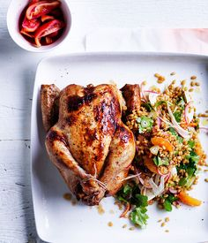 Australian Gourmet Traveller recipe for orange-brined chicken with freekeh, blood orange and fennel salad.