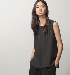 SILK TOP WITH INSERTION LACE - Basics - Shirts & Blouses - WOMEN - United States - Massimo Dutti