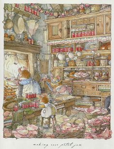 'Making Rose Petal Jam'- Illustration by Jill Barklem, a British writer and illustrator of children's books. Her most famous work is the Brambly Hedge series, published from Art And Illustration, Book Illustrations, Rose Petal Jam, Rose Petals, Art Fantaisiste, Brambly Hedge, Dibujos Cute, Whimsical Art, Hedges