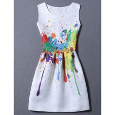 Sweet Round Neck Colorful Print Women's Dress (WHITE,XL) in Mini Dresses | DressLily.com