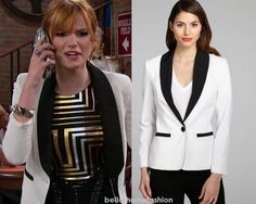 """Cece Jones (Bella Thorne) wears this Wyatt White And Black Colorblock Single-Button Tuxedo Jacket, in this weeks episode of Shake it Up, """"Future It Up."""""""