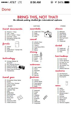 Ultimate Packing Guide For International Explorers Bring This, Not That!: The Ultimate Packing Checklist for International ExplorersBring This, Not That!: The Ultimate Packing Checklist for International Explorers Packing Tips For Travel, Travel List, Travel Essentials, Time Travel, Travel Hacks, Cruise Packing, Traveling Tips, Packing Hacks, Vacation Travel