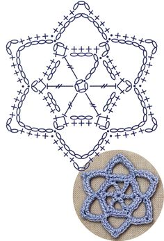 Star Of David Lace Crochet Motifs / 별 모양 모티브도안 : 네이버 블로그 - Diy Crafts Crochet Star Patterns, Crochet Earrings Pattern, Crochet Snowflake Pattern, Crochet Stars, Crochet Circles, Crochet Motifs, Crochet Snowflakes, Crochet Diagram, Crochet Doilies