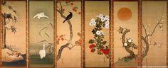 """Flowers and Rising Sun"" by Japanese Edo period artist Hōitsu Sakai 酒井抱一"