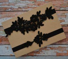 Black Wedding Garter, Lace Wedding Garter Set, Black Beaded Lace Garter Belt, Black Lace Bridal Garter, Vintage Style Lace Garter Set, BB1 by SpecialTouchBridal on Etsy
