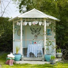 Pale blue garden summerhouse | Contemporary country decorating ideas | Style at Home | Housetohome