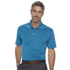 Men's Haggar Classic-Fit Windowpane Performance Polo, Size: Small, Blue Other