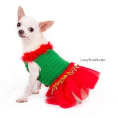 Bohemian Tutu Christmas Dog Dress new collection from Myknitt Designer Dog Clothes. Designed and handmade crocheted by Myknitt Designer Dog Clothes. Your puppy will look cute on this red and green bohemian dog dress. Any custom Christmas Dog Clothing are welcome. This listing is only for handmade dog clothes DF81 in size XXS. Length:8 Fits neck:8 Fits chest:10  If you need size XS, S, or M, please contact me. I will make a new listing for you =) Please kindly check your pets measurements...