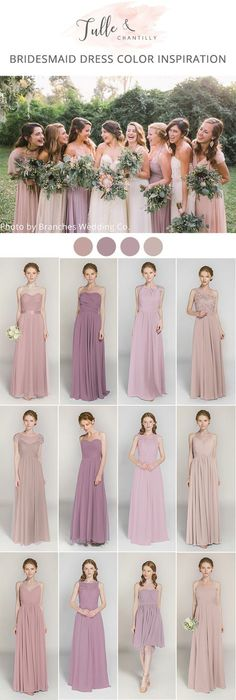 shades of dusty pink and lavender mismatched bridesmaid dresses
