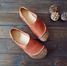 Handmade Women ShoesOxford Shoes Flat Shoes Retro Leather Shoes Casual Shoes Slip Ons Loafers by HerHis
