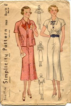 vintage sewing patterns | simplicity 1968 ca 1930s junior and misses sports ensemble the dress ...
