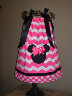 Minnie Mouse Pillowcase Dress Hot Pink Chevron (extra for personalization) on Etsy, $20.00