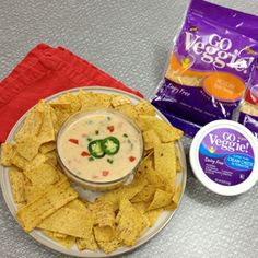 Dairy Free Cheesy Queso Dip by @sporkfoods  made with Go Veggie! Dairy-Free Mexican Style Shreds and Dairy-Free Classic Plain Cream Cheese Alternative!
