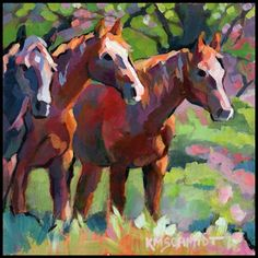 Just Landscape Animal Floral Garden Still Life Paintings by Louisiana Artist Karen Mathison Schmidt: Tres Amigos (sold) Cow Art, Horse Art, Deer Skull Art, Equine Art, Animal Paintings, Horse Paintings, Western Art, Pictures To Paint, Art Plastique